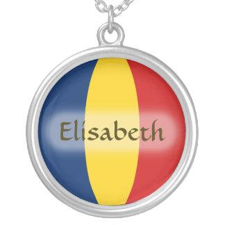 チャドの旗 + 一流のネックレス シルバープレートネックレス