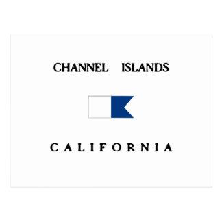 チャネル諸島カリフォルニアアルファ飛び込みの旗 ポストカード