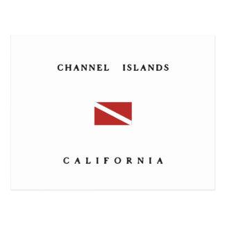 チャネル諸島カリフォルニアスキューバ飛び込みの旗 ポストカード