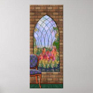 チャペルの窓を通した庭の眺め ポスター