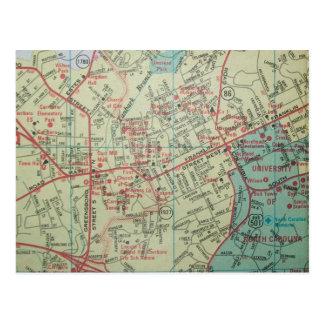 チャペルHILL-CARRBOROのNCのヴィンテージの地図の郵便はがき ポストカード