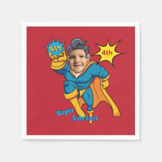 チャンピオンのスーパーヒーローの名前入りな写真テンプレート スタンダードカクテルナプキン