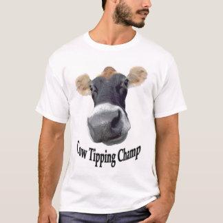 チャンピオンをひっくり返している牛 Tシャツ