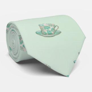 チャーミングで淡い色のな水の茶カップ・アンド・ソーサーパターン カスタムネクタイ