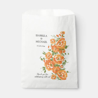 チャーミングなオレンジ花の結婚式 フェイバーバッグ