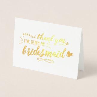 チャーミングな新婦付添人は感謝していしています 箔カード