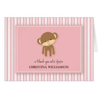 チャーミングな猿はからかいますサンキューカード(ピンク)を カード