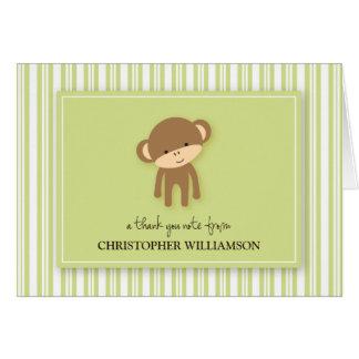 チャーミングな猿はからかいますサンキューカード(緑)を カード