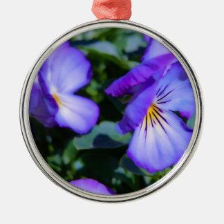 チャーミングな紫色のパンジー メタルオーナメント