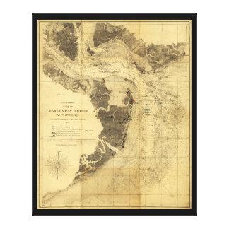 チャールストン港の内戦の地図1863年9月7日 キャンバスプリント