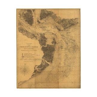 チャールストン港サウスカロライナ(1863年)の地図 ウッドウォールアート
