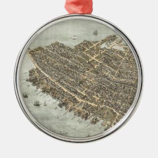 チャールストン(1872年)のヴィンテージの絵解き地図 メタルオーナメント