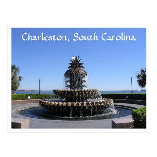 チャールストンSCの水辺地帯公園の噴水の郵便はがき ポストカード
