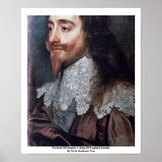 チャールズのポートレートIの詳細イギリス国王 ポスター