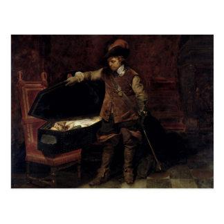 チャールズの棺を開けているオリバー・クロムウェル ポストカード