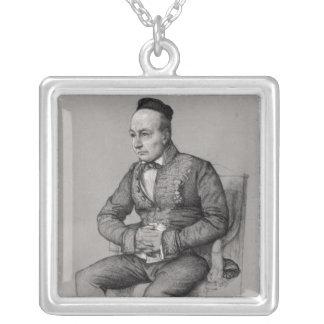 チャールズオーギュスタンSainte-Beuve 1856年のポートレート シルバープレートネックレス