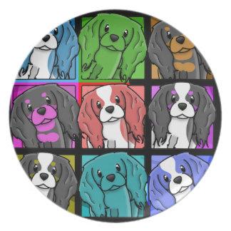 チャールズポップアート無頓着な王スパニエル犬のプレート プレート