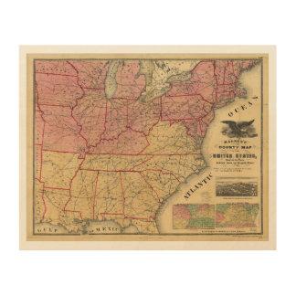 チャールズマグナス1862年著米国の内戦の地図 ウッドウォールアート
