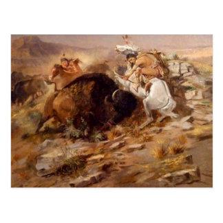 チャールズマリオンラッセル-バッファローの狩り ポストカード