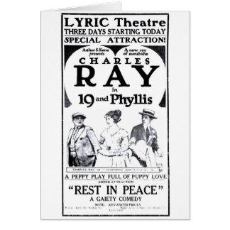 チャールズ光線の無声映画広告1921年 カード