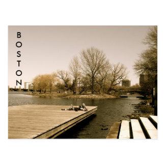 チャールズ川の遊歩道(セピア色) ポストカード