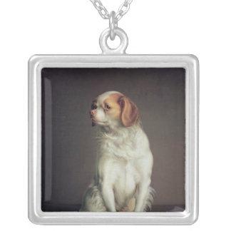 チャールズ王スパニエル犬のポートレート シルバープレートネックレス