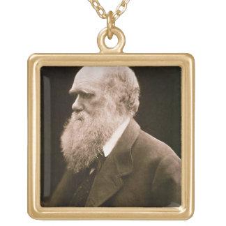 チャールズ・ダーウィン(1809-82年) (写真) ゴールドプレートネックレス