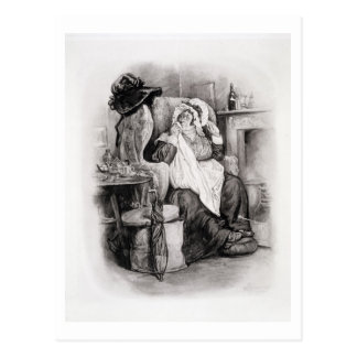 「チャールズ・ディケンズからのGamp夫人、: うわさ話についてのこんにちは ポストカード