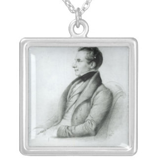 チャールズBabbage 1832年のポートレート シルバープレートネックレス