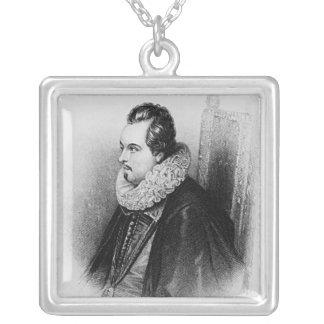 チャールズBlount第8伯爵のポートレートの シルバープレートネックレス
