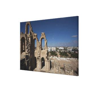 チュニジアのチュニジアの中央海岸、El Jem、ローマの6 キャンバスプリント