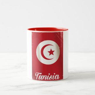 チュニジアのヴィンテージ旅行ポスター ツートーンマグカップ