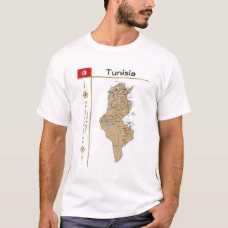 チュニジアの地図 + 旗 + タイトルのTシャツ Tシャツ
