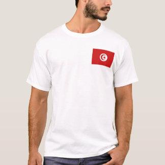 チュニジアの旗および地図のTシャツ Tシャツ