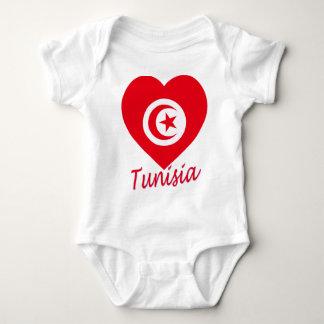 チュニジアの旗のハート ベビーボディスーツ