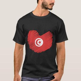 チュニジアの旗のハート Tシャツ