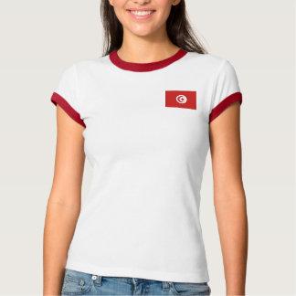 チュニジアの旗 + 地図のTシャツ Tシャツ