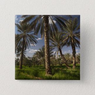 チュニジアのKsour区域、Ksar Ghilaneのナツメヤシ 5.1cm 正方形バッジ