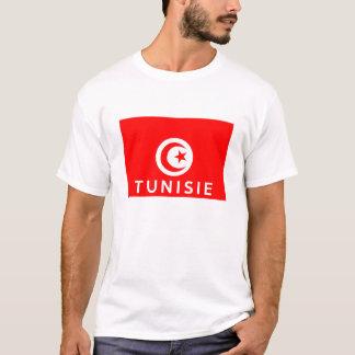 チュニジアのtunisieの旗の国のフランスのな文字の名前 tシャツ