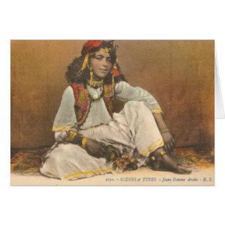 チュニジア1910年からの若い女性 カード