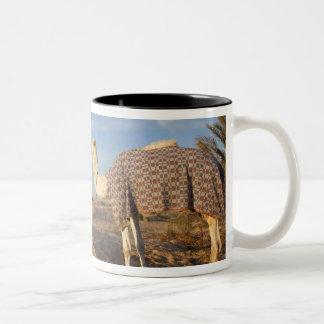 チュニジア、サハラ砂漠の砂漠、Douzの素晴らしい砂丘、ラクダ、 ツートーンマグカップ