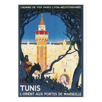 チュニスのヴィンテージ旅行ポスター ポストカード