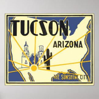 チューソンアリゾナ日光都市、ヴィンテージ ポスター