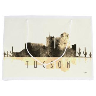 チューソン、アリゾナのスカイライン-セピア色 ラージペーパーバッグ