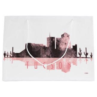 チューソン、アリゾナのスカイライン-ピンク ラージペーパーバッグ
