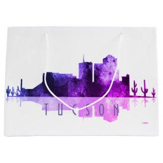 チューソン、アリゾナのスカイライン-紫色 ラージペーパーバッグ