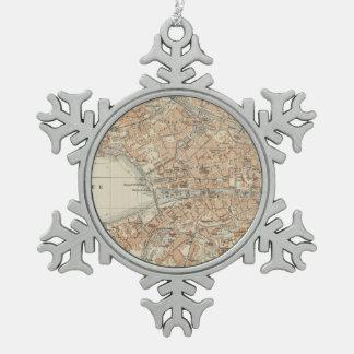 チューリッヒスイス連邦共和国(1913年)のヴィンテージの地図 スノーフレークピューターオーナメント