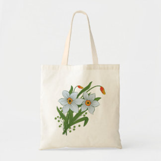 チューリップおよびラッパスイセンの花 トートバッグ