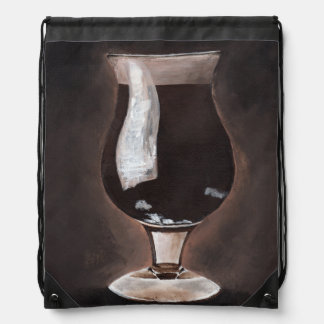 チューリップのガラスポーターの丈夫な絵画の芸術の黒ビール ナップサック