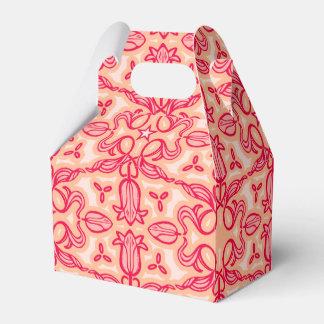 チューリップのダマスク織のイースター赤くパターン(の模様が)あるな春か箱 フェイバーボックス